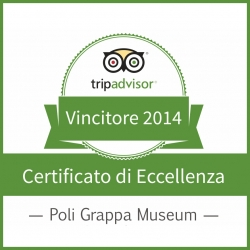 Certificate of excellence Tripadvisor 2014 to Poli Grappa museum